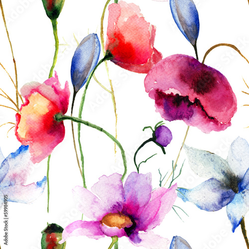 Seamless wallpaper with wild flowers © Regina Jersova