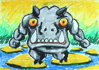 angry hippo walk on stone in water painting