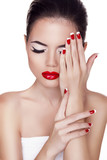 Fashion Beauty Girl. Red lips. Make up. Manicured nails. Attract