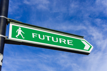 Conceptual Road Sign about Future