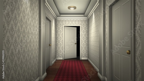 scary hotel hallway camera traveling high definition