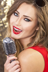 Female Woman Singing With Vintage Microphone
