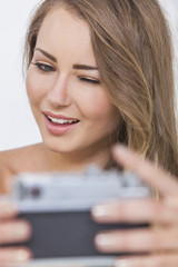 Winking Girl Woman Taking Selfie Picture