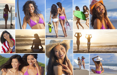 Montage of Active Women Beach Surfer Girls