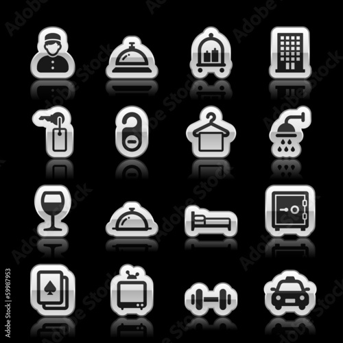 Hotel icons, vector illustration