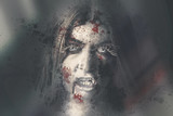 Evil dead vampire woman looking in bloody window