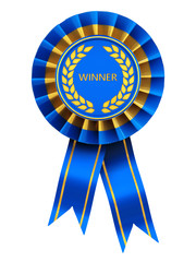 Winner , blue and gold rosette , isolated on white