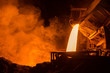 canvas print picture - Hot steel pouring in steel plant