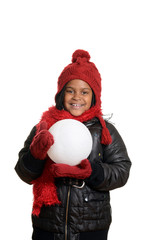 little girl holding large snowball