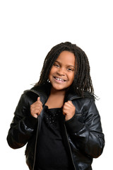 little girl wearing black leather jacket