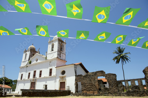 Brazilian Flag Bunting White Colonial Church Nordeste Brasil