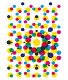 Halftone dots party background.