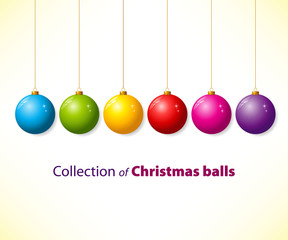 Collection of color christmas balls