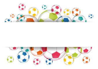 Étiquette ballons de foot multicolores