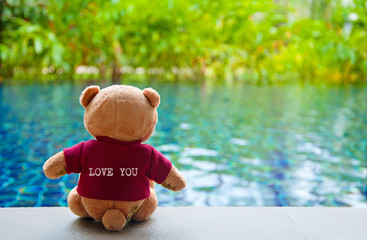 """Back view of teddy bear wearing red T-Shrit with text """"LOVE YOU"""""""