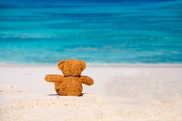 Loneliness Teddy Bear sitting on the beach.