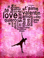 Coeur ballon Saint Valentin fond rose