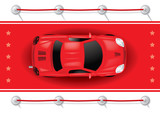 Car Top View on Red Carpet - Vector Illustration