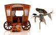 Spaventapasseri, paglia, carrozza, veggente, circo