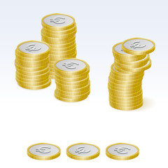 Euro Coin Stack Vector Icons