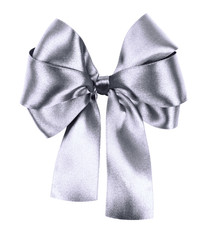 gray bow made from silk ribbon