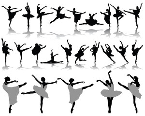 Silhouettes and shadows of ballerinas 2, vector