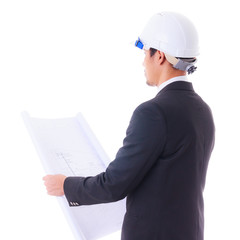 engineer looking construction diagram