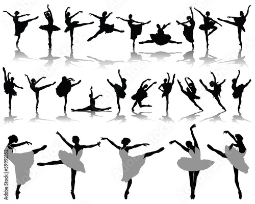 Silhouettes and shadows of ballerinas 2, vector
