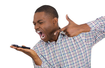 Angry upset man shouting on a cell phone