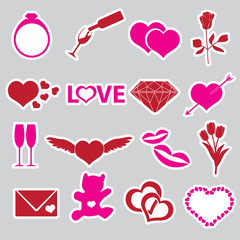 valentine's day and love stickers eps10
