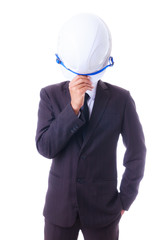 business man holding engineer helmet isoleted