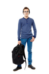 Trendy teenager wearing glasses holding his backpack in hand