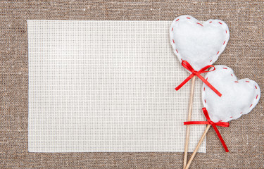 Valentine card with textile hearts