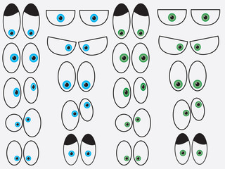 Set of cartoon eyes illustrated on white