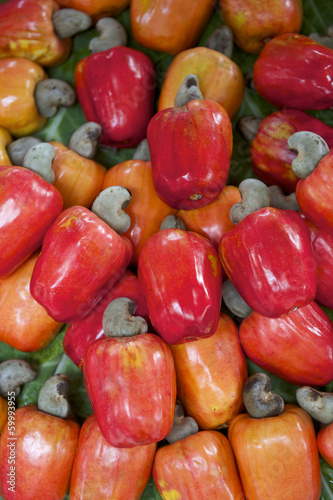 Fresh Ripe Red Brazilian Caju Cashew Fruit