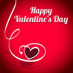 Valentinstag Herz mit Band auf rotem Hintergrund