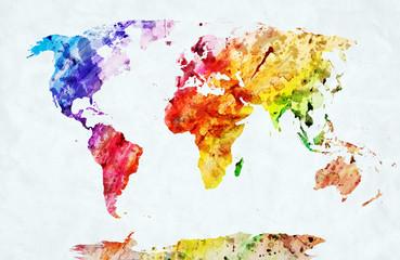 fototapeta akwarela mapa świata
