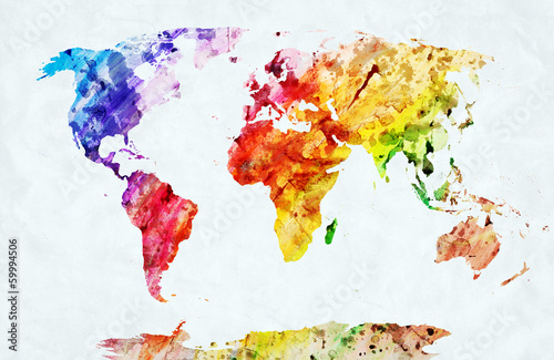 Juliste Watercolor world map