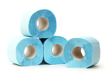 Blue toilet paper rolls