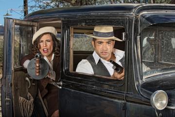 Gangster Woman Firing Gun From Car