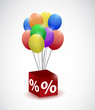 balloons and percentage cube illustration design