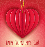 Decorative paper red heart for Valentines Day, eps10