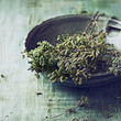 Dried wild oregano in an old bowl