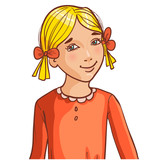 Teenager cartoon girl with blond hair and hair style with ribbon