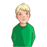 Teenager cartoon boy with blond hair