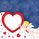 Cupidon with heart frame