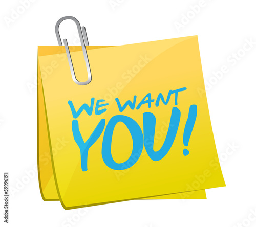 we want you post message illustration design