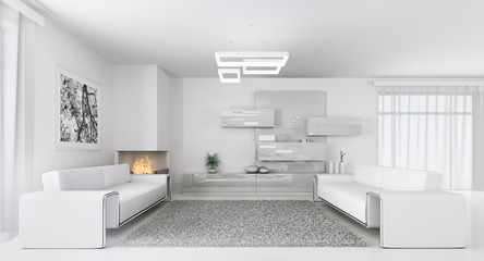 Interior of modern white living room 3d
