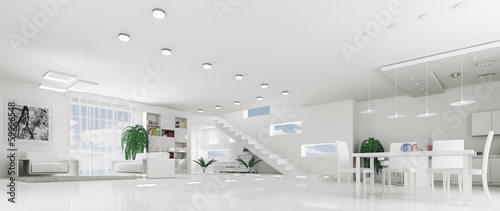 Interior of modern white apartment panorama