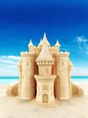 Sand castle with a beach background